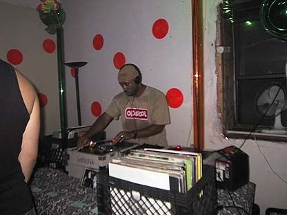 doin' the do at DMZ in Brooklyn, NY, 2002.