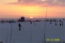 sunset at siesta key beach.  florida.  march 2006.
