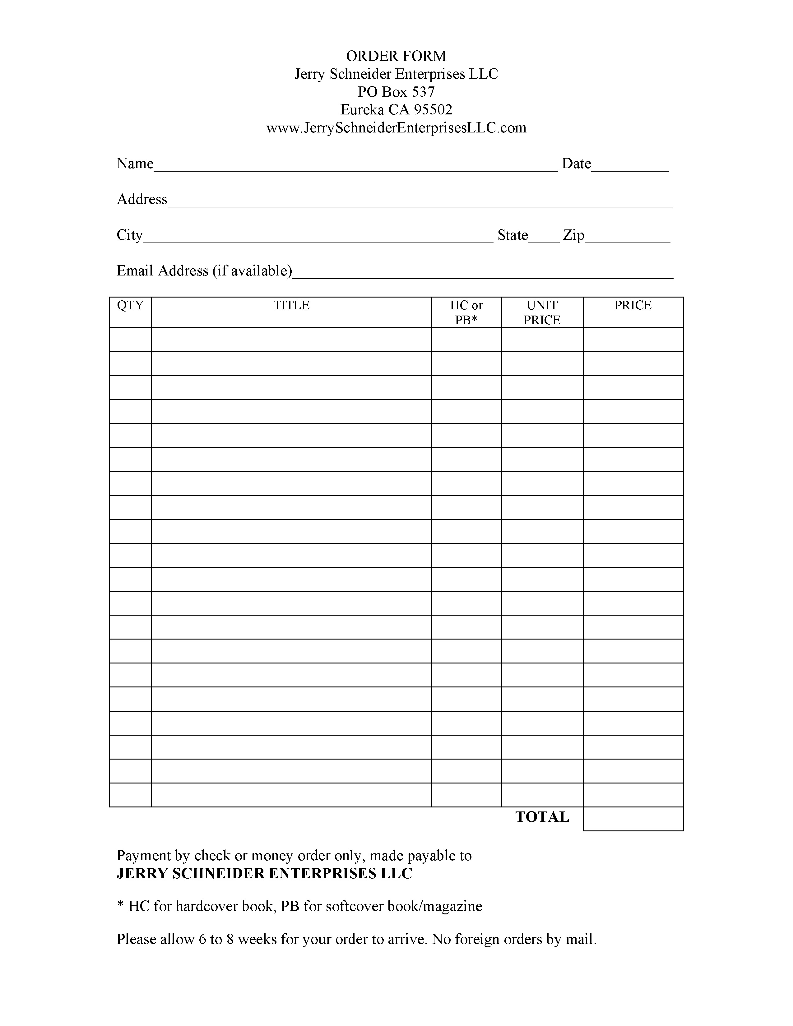Fiction House Bookstore – Order Form