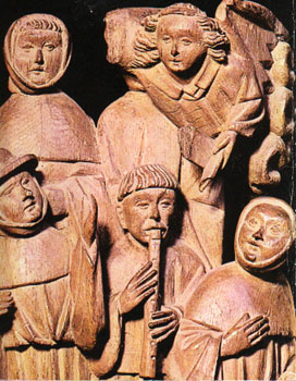 'The angel and the shepherds of Bethlehem' (circa 1430), woodcarving, circa 75 cm high, anonymus, English.