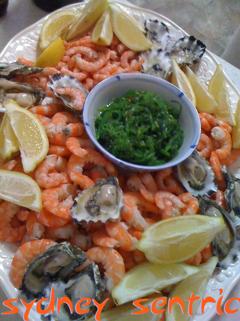 Seafood Christmas lunch in an Australian style, but with a centrepiece of cooling, detoxifying Japanese wakame salad. Picture copyright Robert Sullivan 2012.