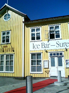 The facade of Reykjavik Ice Bar in the sunny heart of town