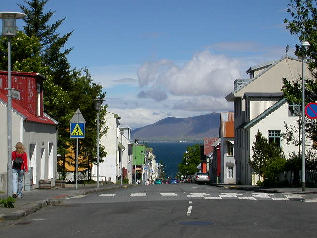 Near Hallgrimskirkja and the 12 Tonar Record Shop, looking towards the bay in Reykjavik