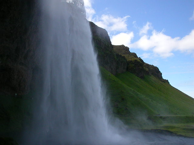According to Karyn Sigurddson, there is a legend at the nearby Skogarfoss that behind that particular waterfall is a chest of treasures. Legend has it that a man ventured behind the falls and grasped the handle on the chest, only for the treasure to vanish in front his very eyes. He managed to keep a grip on the handle, and the handle is now on the door to the church in Skogarfoss