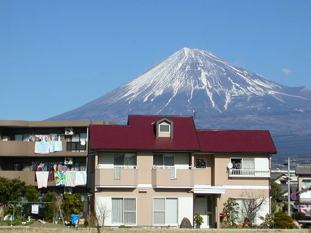 Mt Fuji, viewed from the small town of Fuji, one winter morning in 2005.