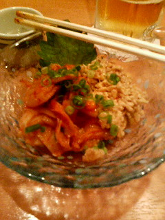 Nombe Izakaya Restaurant near Uguisudani Station, Tokyo, and this dish is called kimchi natto