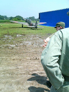 On the set of my vintage Second World War movie, a vintage kamikaze plane in the background