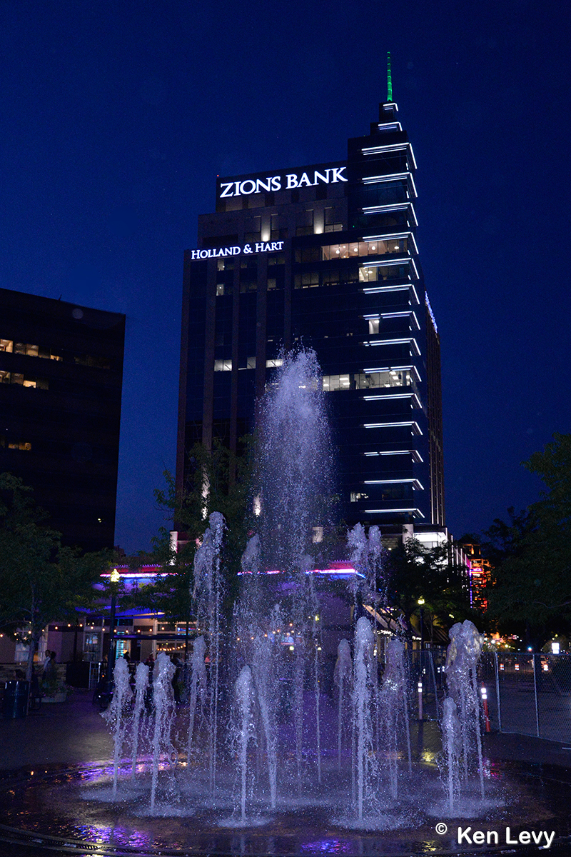 Boise center night fountain