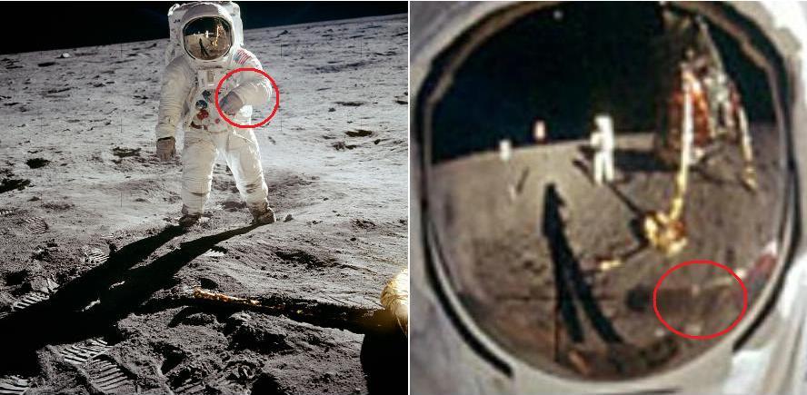 On photo AS11-40-5903, the astronaut folds his left arm ...