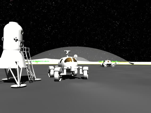 Image of lander on the moon with bio dome in background