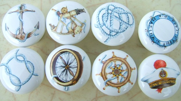 Cabinet knobs sea shells dolphins trout game fish seashells pulls