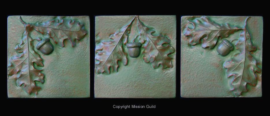Acorn tiles and tile murals acorn fireplace tiles for Arts crafts tiles