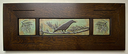 Crow Raven In Pine Tree Framed Art Tile Triptych Display Click To Enlarge