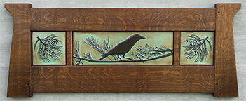 Crow Raven In Pine Tree Framed Tile Triptych Display Click To Enlarge