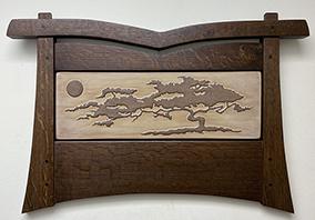 Cypress Tree Bonsai Moon Framed Art Tile Display Click To Enlarge