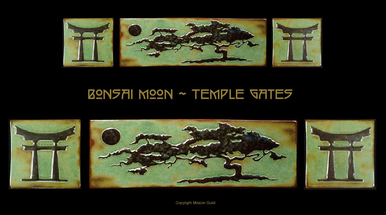 Arts and crafts tiles - Bonsai Moon Temple Gates Tile Set Arts Crafts Asian Flare Amazing Bonsai Tree Tile Set Center Tile Measures Approx 18 X 6