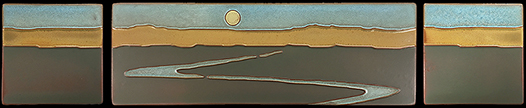 Byrdcliffe Inspired Landscape Mountains Stream Tile Triptych