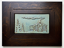 Smokey Cabin In Pine Trees Framed Tile Click To Enlarge