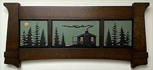 Pine Cabinscape Framed Art Tile Triptych Display Click To Enlarge
