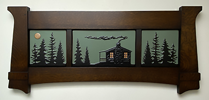 Cabin In Pine Trees Framed Tile Murals