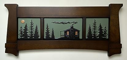 Cabin In Pine Trees Framed Tile Murals
