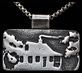 Cabinscape Arts & Crafts Woodland Adirondack Cabin Silver Necklace