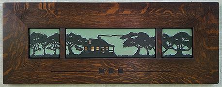 Bungalow Cabin Live Oak Trees Framed Art Tile Triptych Display Click To Enlarge