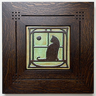 Framed Cat With Sun Moon And Art Nouveau Border Tile Click To Enlarge
