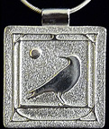 Art Nouveau Bordered Crow With Moon Necklace