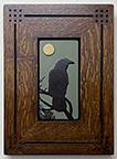 Framed Raven Crow Pine Tree Full Moon Tile Click To Enlarge