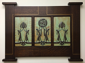 Framed Mackintosh Glasgow Rose Deco Women Inspired Art Tile Triptych Click To Enlarge