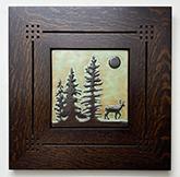 Deer in Pine Trees Stag Full Moon Framed Tile Click To Enlarge