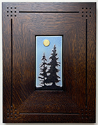 Double Pine Trees With Full Moon Framed Tile Click To Enlarge