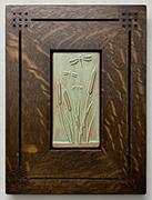 Framed Dragonflies in Cattails Tile Click To Enlarge