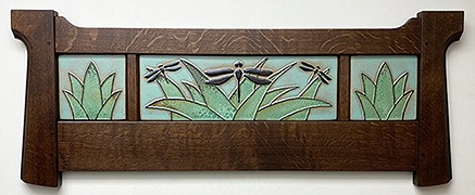 Dragonflies Dragonfly In Reeds Framed Art Tile Triptych Mural Click To Enlarge