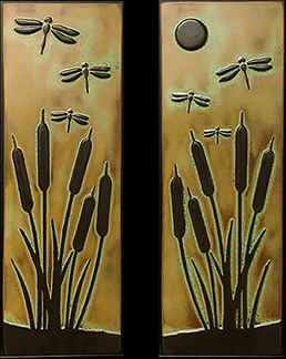 Arts & Crafts Dragonflies With Cattails Tile Set Click To Enlarge