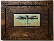 Arts and Crafts Dragonfly Wide Wing Framed Art Tile Click To Enlarge
