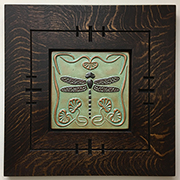 Framed Dragonfly With Art Nouveau Lily Pads Border Tile Click To Enlarge
