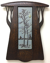 Framed Eerie Tree With Harvest Moon Art Tile Click To Enlarge