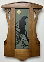Crow Raven In Pine Tree With Full Moon Framed Tile Display Click To Enlarge