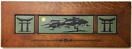 Cypress Tree Bonsai Moon Framed Art Tile Triptych Display Click To Enlarge