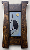 Framed Great Horned Owl With Moon Art Tile Click To Enlarge