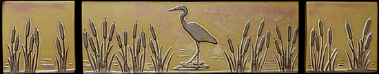 Heron in Cattails Landscape Tile