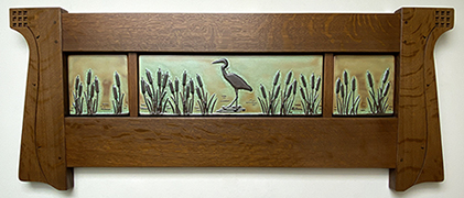 Heron In Cattails Framed Art Tile Triptych Display Click To Enlarge