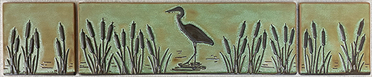 Heron in Cattails Landscape Tile Mural Set