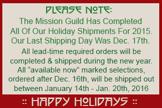 Mission Guild Studio Holiday Shipping Notice