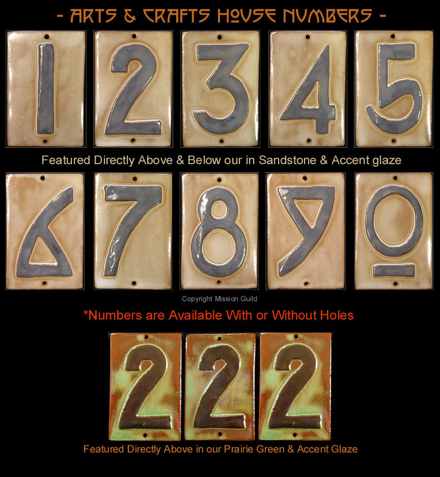 Arts and crafts tiles - Arts Crafts House Numbers Tiles