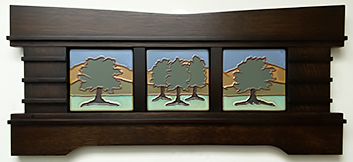 Live Oak Trees Mountains Landscape Framed Tile Set Triptych Click To Enlarge