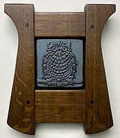 Great Horned Owl On Branch Framed Art Tile Click To Enlarge