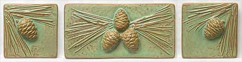 Arts & Crafts Pinecones & Needles Fireplace Tile Set Click To Enlarge